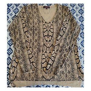 Marled Snake Print V-neck sweater very soft and wa